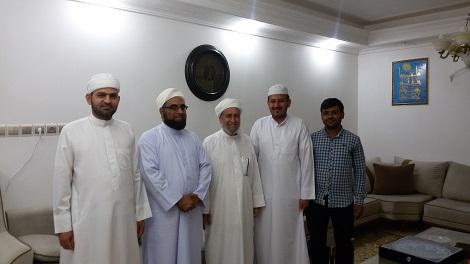 دیدار مدیر و مدرسین مدرسه اسماعیلیه با شیخ محمد علی امینی و شیخ محمد صالح امینی حفظهما الله